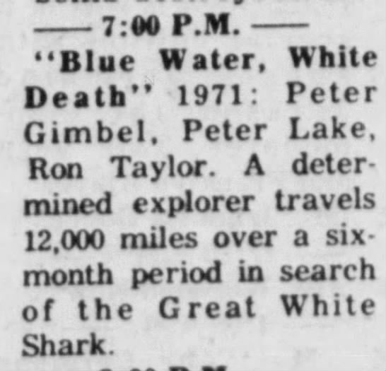 """Blue water, white death"" documentary film in TV guide (1976) -"