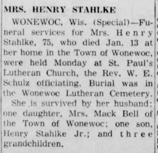 Mrs Henry Stahlke obit -