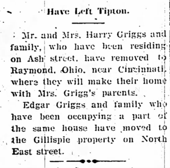 Harry Griggs moves his family to Ohio -