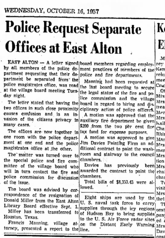 F Manning - WEDNESDAY, OCTOBER 16, 1957 Police Request...