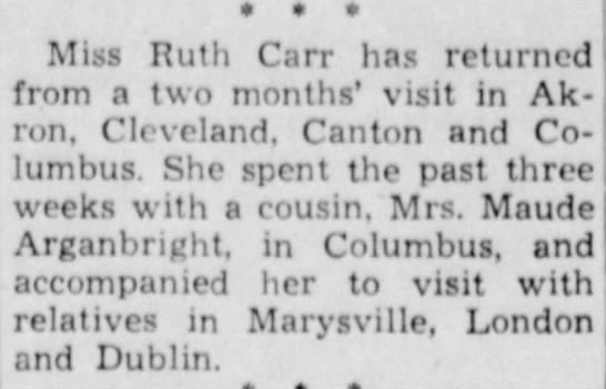Mrs. Maude Arganbright & her cousin Miss Ruth Carr -