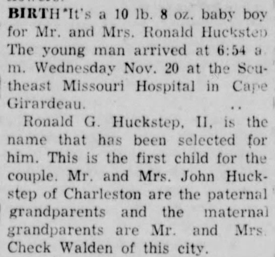 Ronald G Huckstep II Birth Announcement -