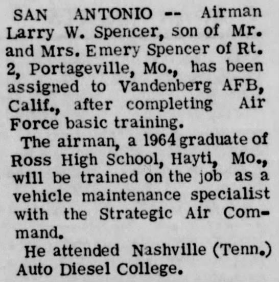 Larry Spencer, air training -