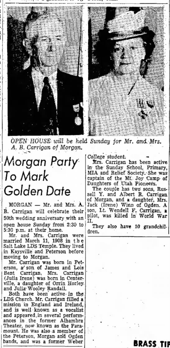 1958 Ab and Julie Carrigan 50th Wedding Open House - OPEN HOUSE will be held Sunday for Mr. and Mrs....