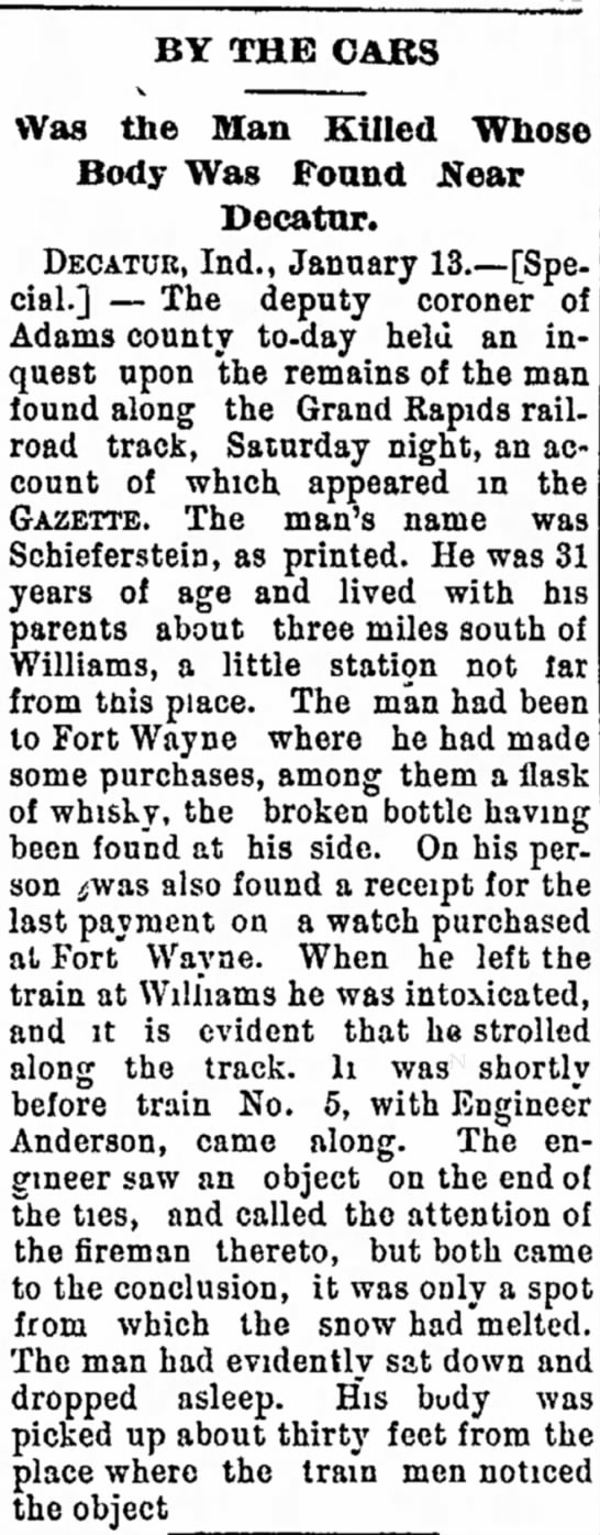 Ft. Wayne Weekly, Gazette - 16 Jan. 1896 - he her, a binds hearing BY THE CABS Was the Man...