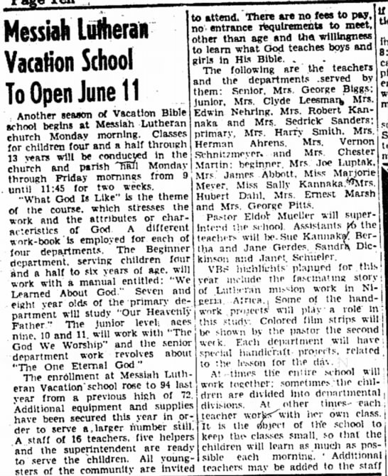 DeLyle Kannaka serving in church vacation school. Sterling Daily Gazette - June 6, 1951 -