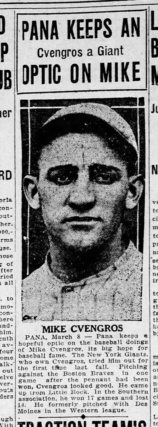 Decatur Herald 09 Mar 1923 page 16 Mike Cvengros baseball -