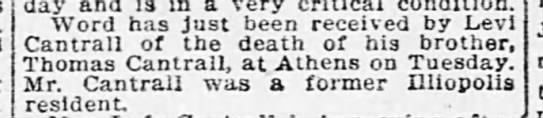 Cantrall Thomas Death 1914 -
