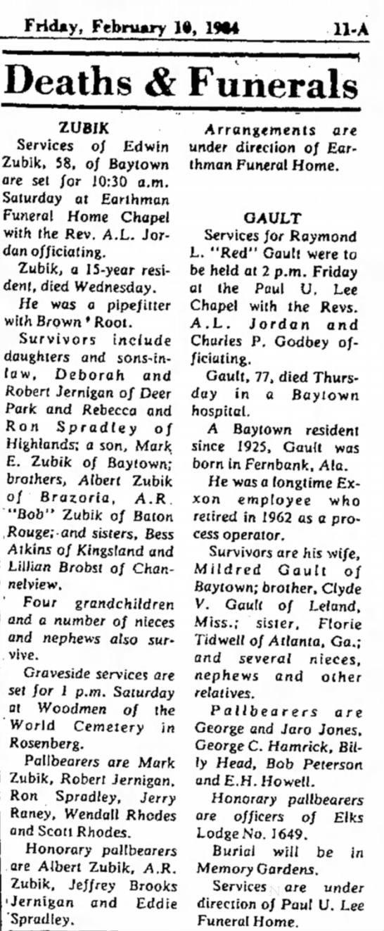 Edwin Zubik Funeral Service Baytown Sun - 10Feb1984 - Friday, February 1», 1*4 Deaths & Funerals...