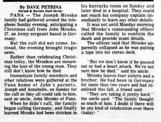 Herald & Review 25 Dec 1984 page 1 John Mrosko dies unexpectedly in Germany -
