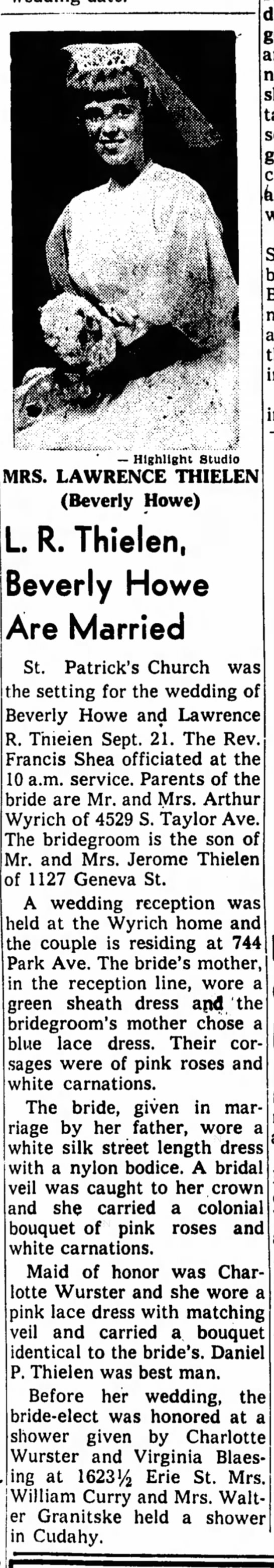 Larry Thielen (Brother) and Bev Howe - Marriage report September 1963 -