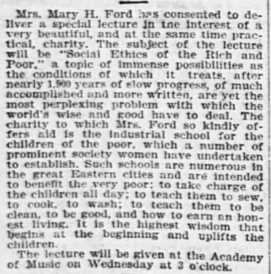 later Baha'i Mary Hanford Ford gives giving society -