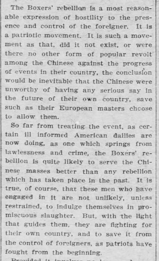 """Editorial: Boxer Rebellion is a """"reasonable expression of hostility"""" and a """"patriotic movement"""" -"""