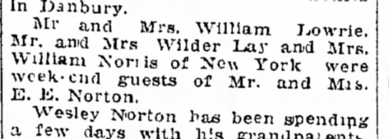 Mr & Mrs. William Lowrie and Mr. and Mrs. William Norris guests -