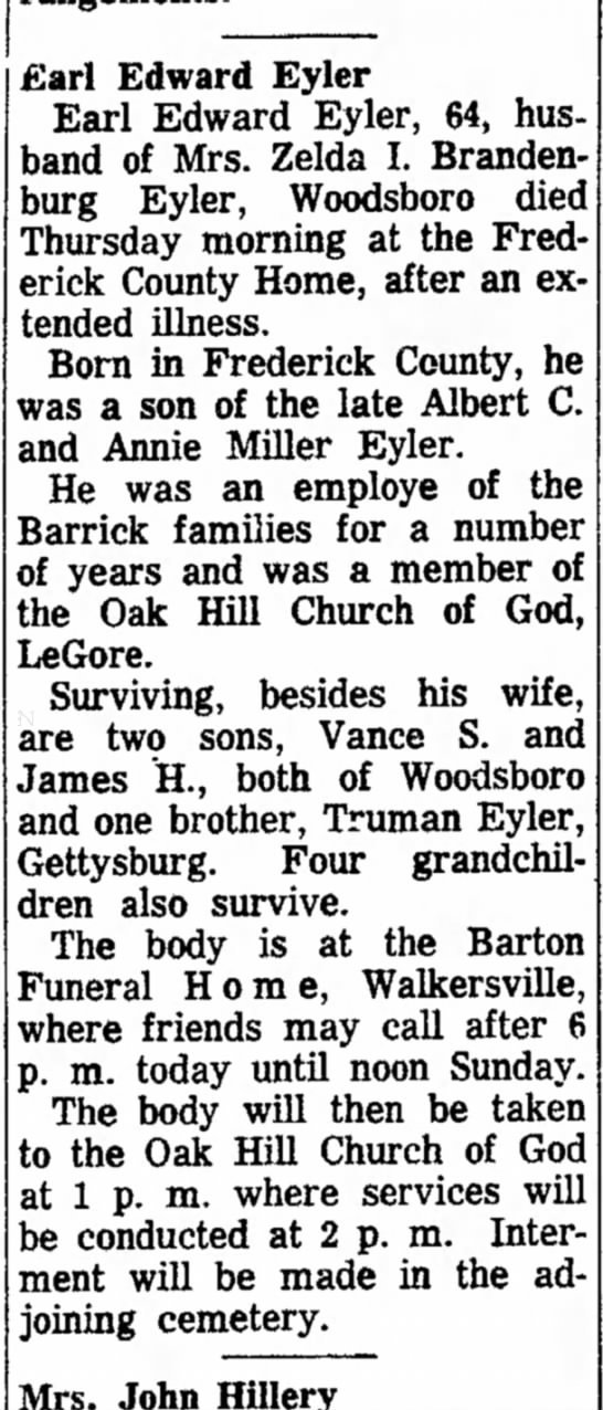 Earl Edward Eyler-Obit-The News (Frederick, MD-21 Feb 1964, Fri-pg 12 -
