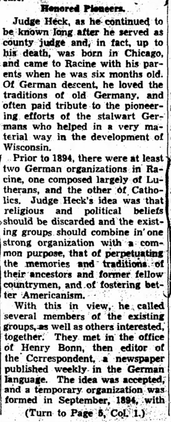 Journal-Times Sunday Bulletin (Racine, Wisconsin)  Sunday, October 15, 1939 - Page 1 Max Heck 2 - Hanored Ftsaeew. ' Judge H^, as h «Kc6ntinue <l...