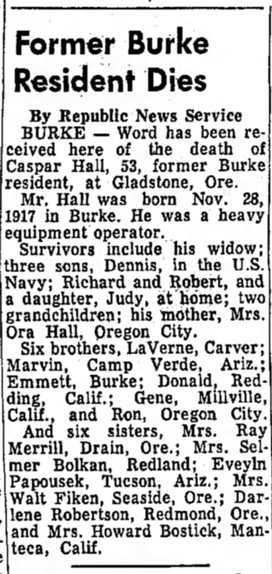 Caspar Hall Daily Republic Mitchell SD 9 Dec 1971 obit -