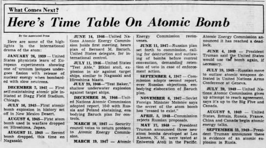 Time Table of Atomic Bomb (mentions Eniwetok) -
