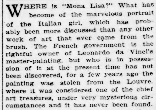 "Missing in mystery for 2 years - WHERE is ""Mona Lisa?"" What has become of the..."