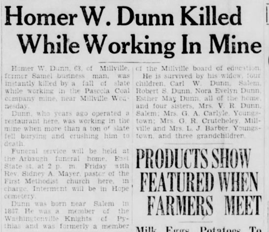 Homer Dunn killed in mine accident -