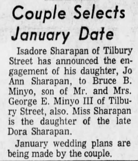Minyo Sharapan wedding announcement 1 July 1968 Pittsburgh Post-Gazette p 19 col 3 -