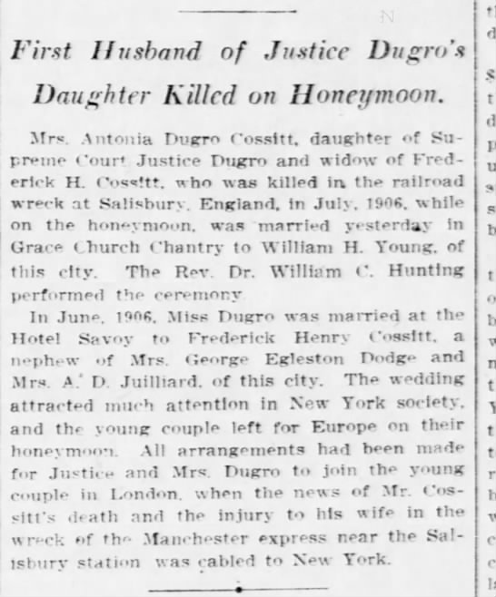 Antonia Husband Killed on Honeymoon 7 Jan 1909 -