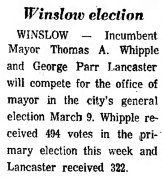 1970 George Parr Lancaster - Mayoral Race -