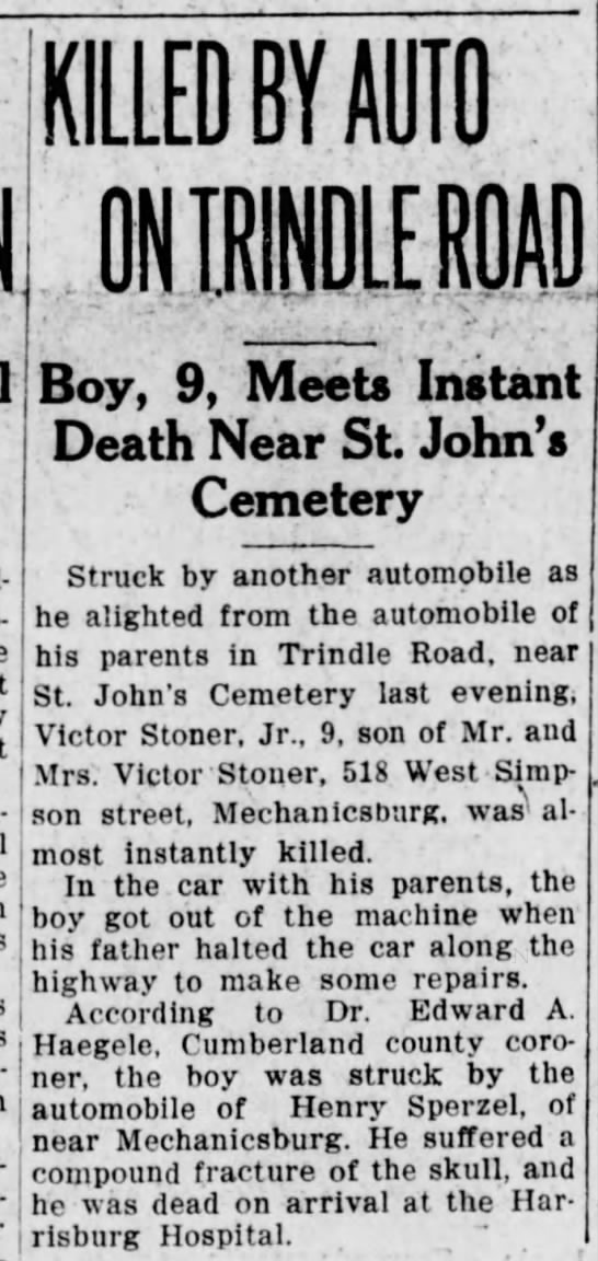 Stoner, Victor Jr. accident -