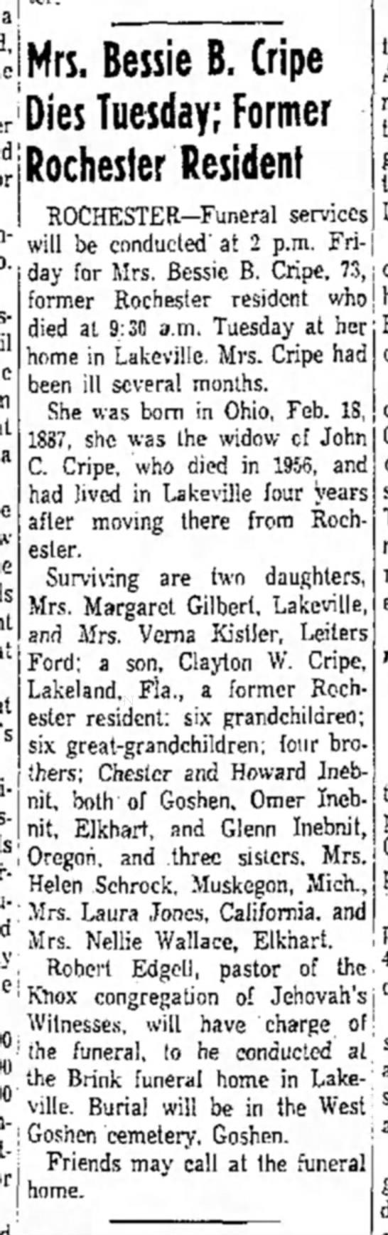 Bessie B. (Inebnit) Cripe dies Tues. The Logansport Press (Logansport, Indiana) 25 Aug 1960 p.23 -