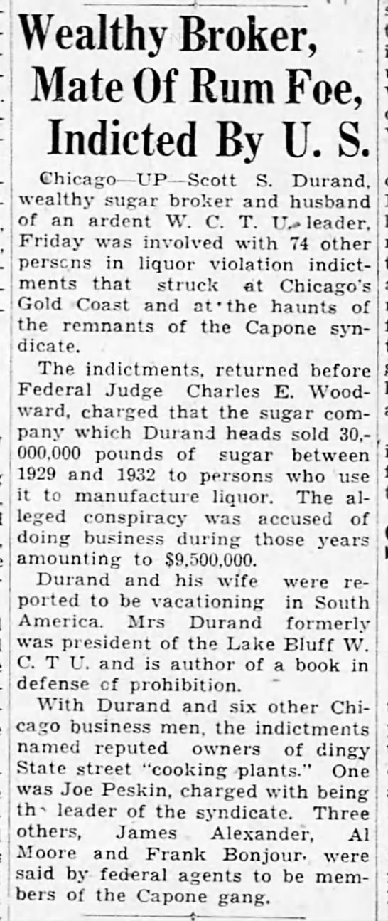 Scott S. Durand indicted (1933) -
