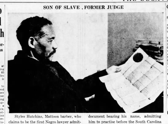 """Style Hutchins, """"Son of Slave, Former Judge,"""" 1937 -"""