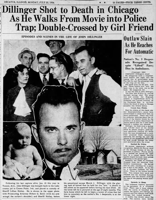 John Dillinger killed, 1934 -