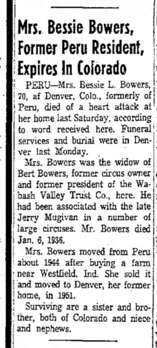 Mugivan BBowers Obit6-20-1959 - Mrs. Bessie Bowers, Former Peru Resident,...