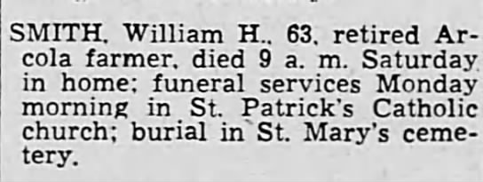 William H Smith Death Notice -