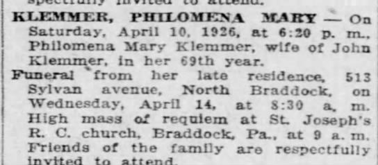 1926 April 10th - Philomena Mary Klemmer, wife of John - Obit  69, Braddock,PA -