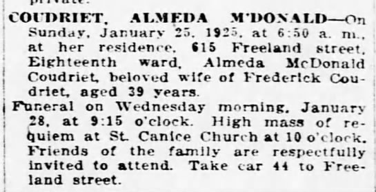 Almeda McDonald Coudriet Pittsburgh Daily Post Pittsburgh, Pennsylvania Monday, January 26, 1925 -