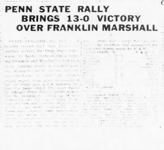 Penn State Rally Brings 13-0 Victory Over Franklin Marshall -