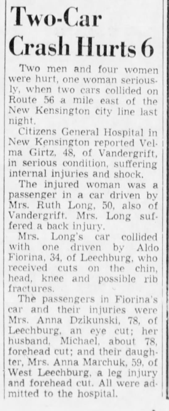 Anna Dzinkunski in car accident, eventually died from it  Pittsburgh
