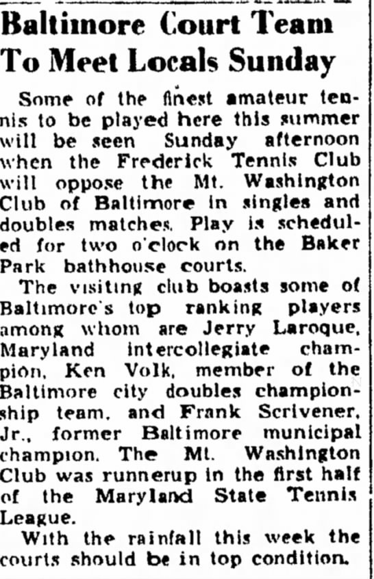 Scrivener Tennis 1950 - in Baltimore Court Team To Meet Locals Sunday...