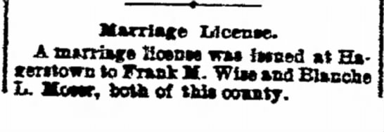 Frank Melvine Wise Marriage License Notice12/3/1903 -