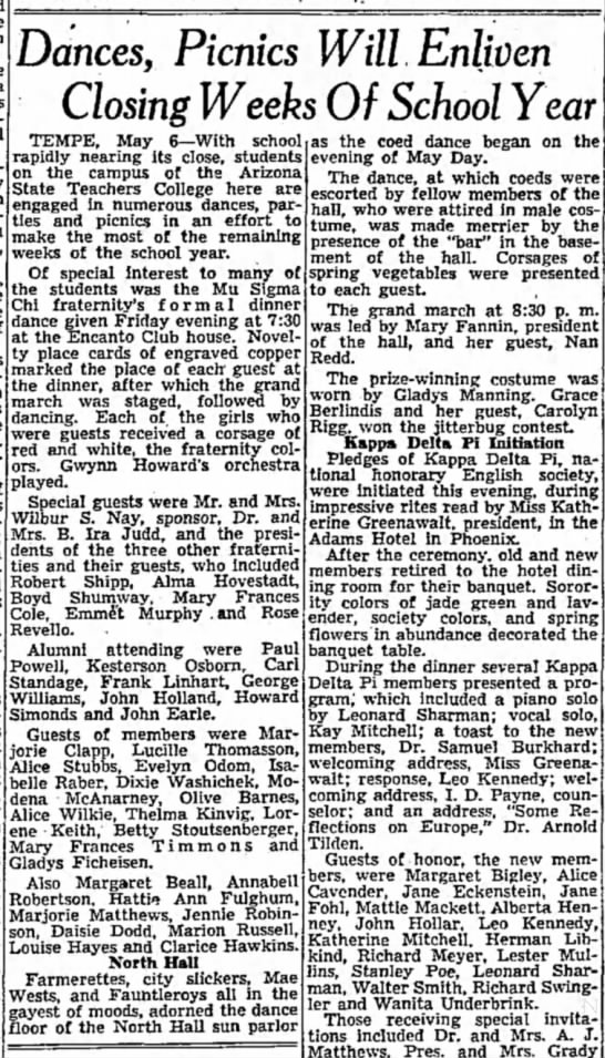 Dance, Picnic guests Dixie Washichek Arizona Independent Republic May 1939 - Dances, Picnics Will Enliven Closing Weeks Of...