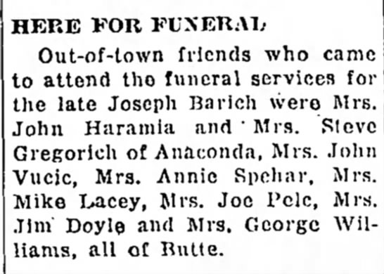 Out of Town Friends for Funeral of Joseph Barich -