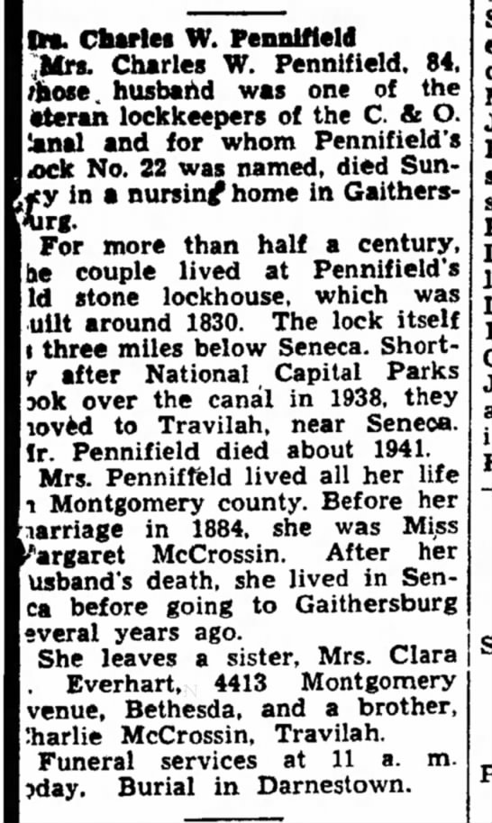 Mrs Charles W Pennifield, The News, Frederick, MD Oct 18, 1950, page 10 -