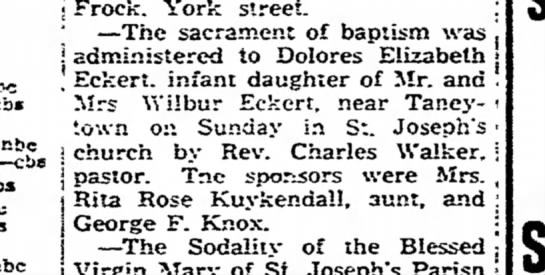 Aunt Dee's Baptism 17 May 1947 -