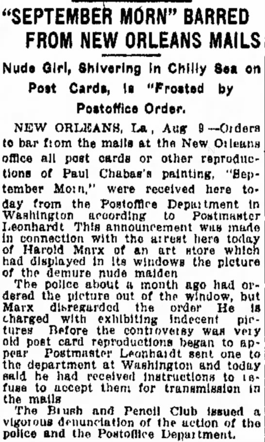 US Post Office Bars September Morn reproductions from the mail at New Orleans 1913 -