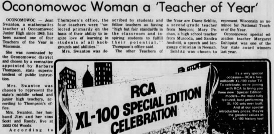 1977-11-03 Teacher of Year - Jean Swanton -