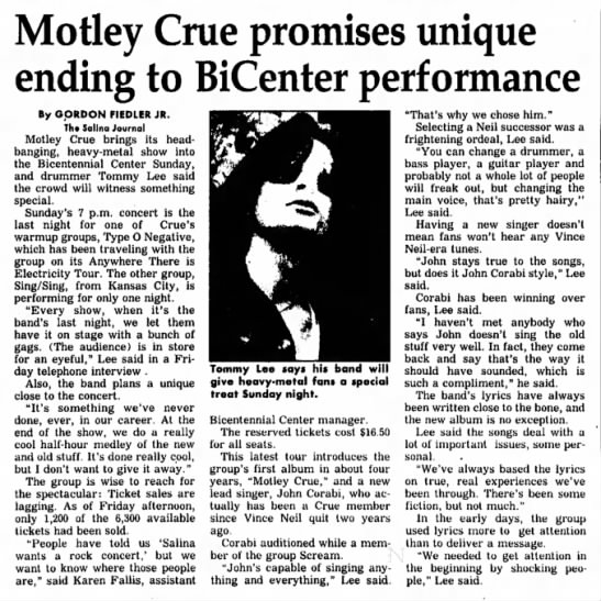 Motley Crue promises unique performance. -