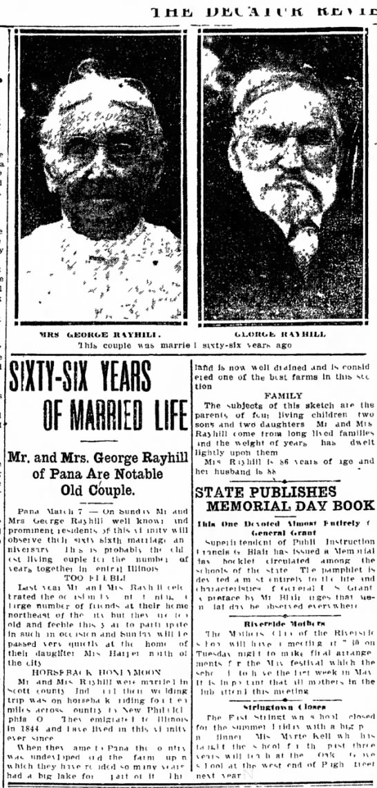The Daily Review (Decatur, IL) 8 May 1910 - George  Mary Ann's 66th anniversary -