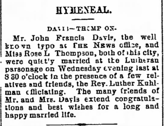 Davis Thompson wedding 1898 -