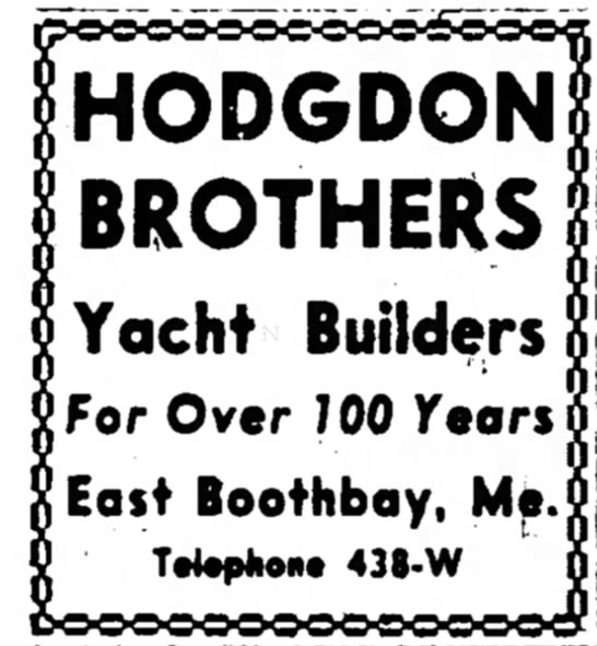 Hodgdon Boatbuilding Advertisement  -